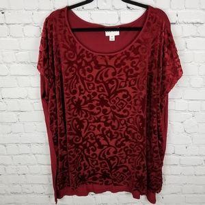 AVA&VIV   velour filigree drop shoulder blouse